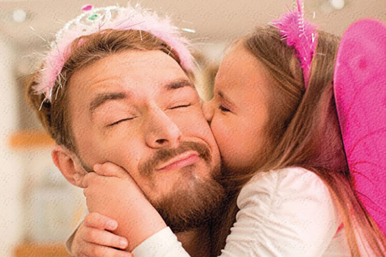 kissing dad
